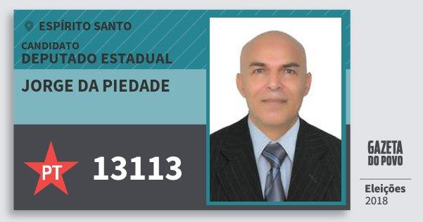 Santinho Jorge da Piedade 13113 (PT) Deputado Estadual | Espírito Santo | Eleições 2018