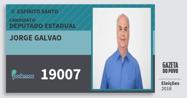 Santinho Jorge Galvao 19007 (PODE) Deputado Estadual | Espírito Santo | Eleições 2018