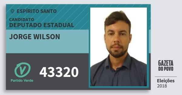 Santinho Jorge Wilson 43320 (PV) Deputado Estadual | Espírito Santo | Eleições 2018