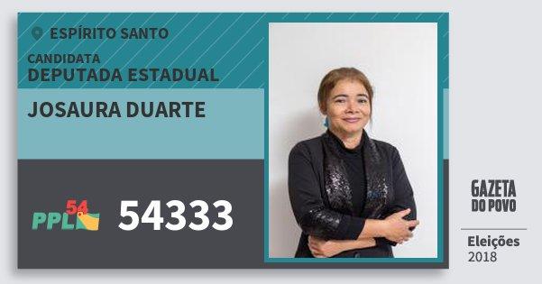 Santinho Josaura Duarte 54333 (PPL) Deputada Estadual | Espírito Santo | Eleições 2018