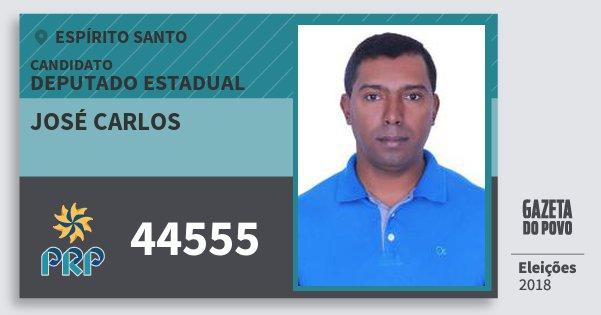 Santinho José Carlos 44555 (PRP) Deputado Estadual | Espírito Santo | Eleições 2018