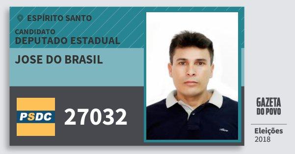 Santinho Jose do Brasil 27032 (DC) Deputado Estadual | Espírito Santo | Eleições 2018