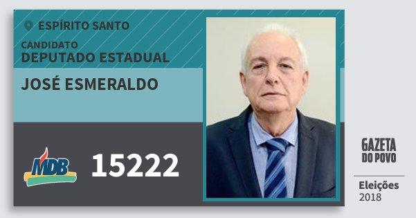 Santinho José Esmeraldo 15222 (MDB) Deputado Estadual | Espírito Santo | Eleições 2018