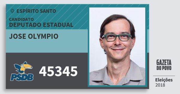 Santinho Jose Olympio 45345 (PSDB) Deputado Estadual | Espírito Santo | Eleições 2018