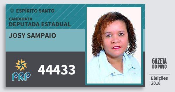 Santinho Josy Sampaio 44433 (PRP) Deputada Estadual | Espírito Santo | Eleições 2018