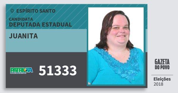 Santinho Juanita 51333 (PATRI) Deputada Estadual | Espírito Santo | Eleições 2018