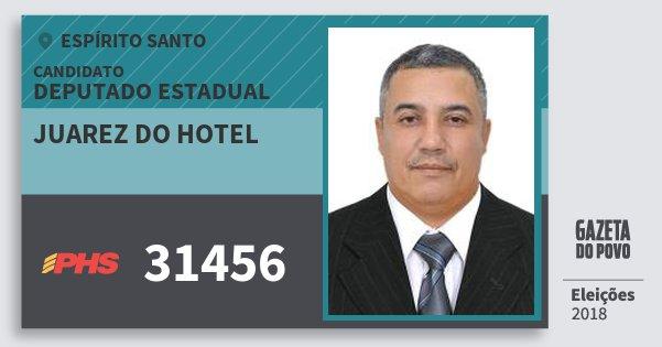 Santinho Juarez do Hotel 31456 (PHS) Deputado Estadual | Espírito Santo | Eleições 2018