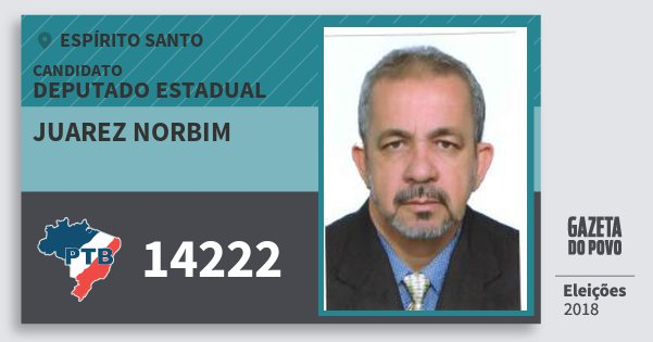 Santinho Juarez Norbim 14222 (PTB) Deputado Estadual | Espírito Santo | Eleições 2018