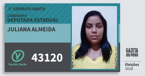 Santinho Juliana Almeida 43120 (PV) Deputada Estadual | Espírito Santo | Eleições 2018