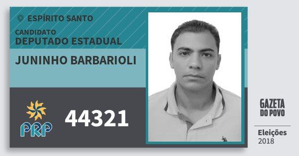 Santinho Juninho Barbarioli 44321 (PRP) Deputado Estadual | Espírito Santo | Eleições 2018