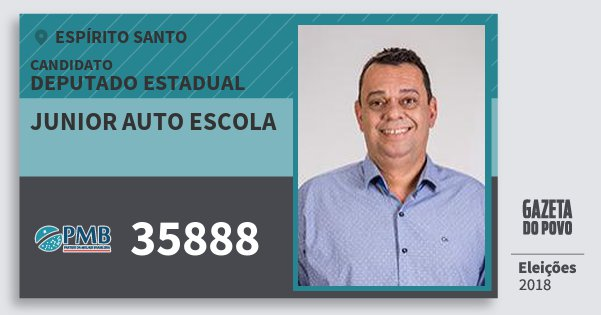 Santinho Junior Auto Escola 35888 (PMB) Deputado Estadual | Espírito Santo | Eleições 2018