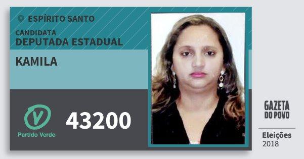 Santinho Kamila 43200 (PV) Deputada Estadual | Espírito Santo | Eleições 2018