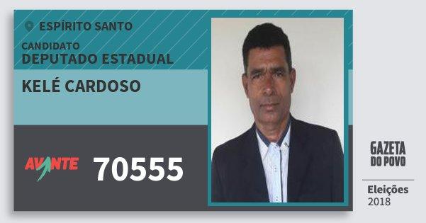 Santinho Kelé Cardoso 70555 (AVANTE) Deputado Estadual | Espírito Santo | Eleições 2018