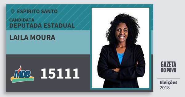 Santinho Laila Moura 15111 (MDB) Deputada Estadual | Espírito Santo | Eleições 2018