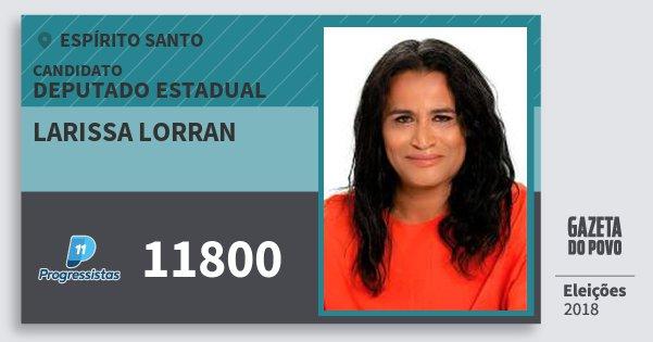 Santinho Larissa Lorran 11800 (PP) Deputado Estadual | Espírito Santo | Eleições 2018
