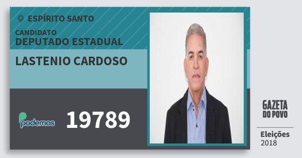 Santinho Lastenio Cardoso 19789 (PODE) Deputado Estadual | Espírito Santo | Eleições 2018