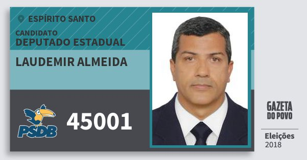 Santinho Laudemir Almeida 45001 (PSDB) Deputado Estadual | Espírito Santo | Eleições 2018