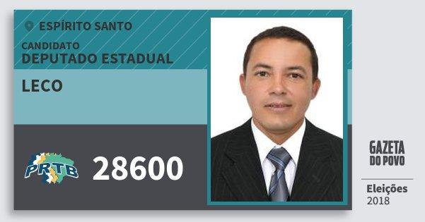 Santinho Leco 28600 (PRTB) Deputado Estadual | Espírito Santo | Eleições 2018