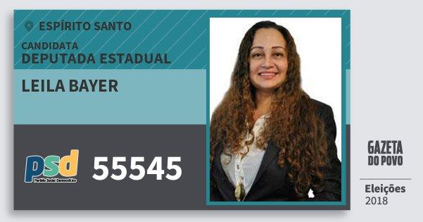Santinho Leila Bayer 55545 (PSD) Deputada Estadual | Espírito Santo | Eleições 2018