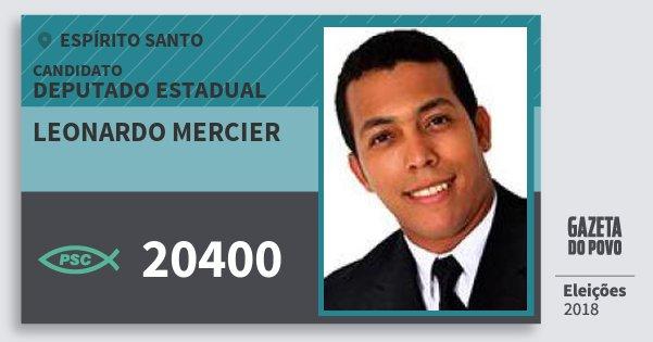 Santinho Leonardo Mercier 20400 (PSC) Deputado Estadual | Espírito Santo | Eleições 2018