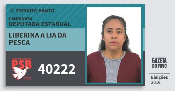 Santinho Liberina A Lia da Pesca 40222 (PSB) Deputada Estadual | Espírito Santo | Eleições 2018