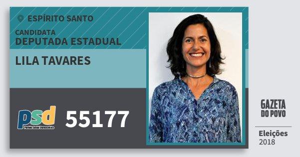Santinho Lila Tavares 55177 (PSD) Deputada Estadual | Espírito Santo | Eleições 2018