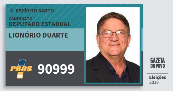 Santinho Lionório Duarte 90999 (PROS) Deputado Estadual | Espírito Santo | Eleições 2018