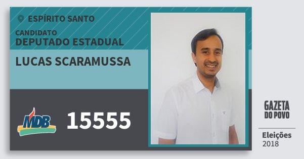 Santinho Lucas Scaramussa 15555 (MDB) Deputado Estadual | Espírito Santo | Eleições 2018