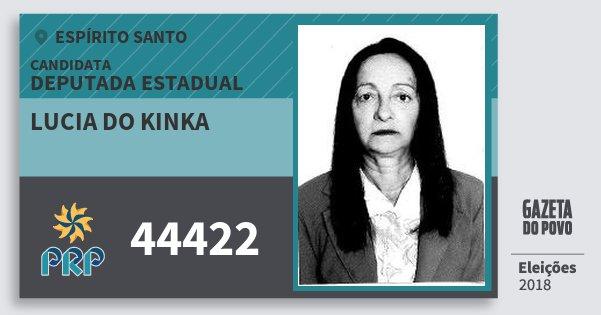 Santinho Lucia do Kinka 44422 (PRP) Deputada Estadual | Espírito Santo | Eleições 2018