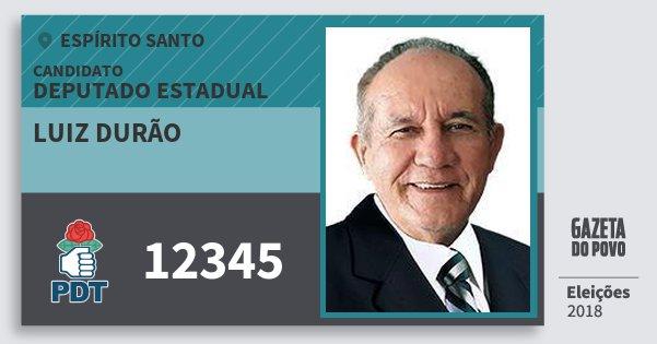 Santinho Luiz Durão 12345 (PDT) Deputado Estadual | Espírito Santo | Eleições 2018