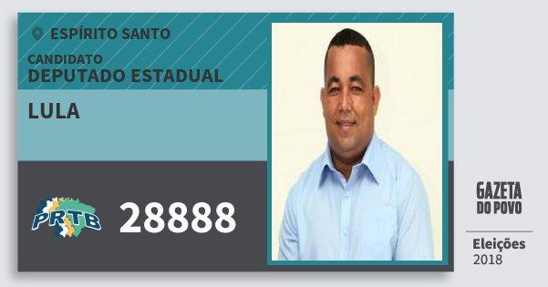 Santinho Lula 28888 (PRTB) Deputado Estadual | Espírito Santo | Eleições 2018
