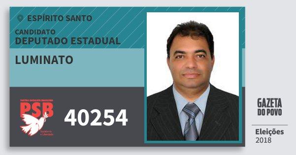 Santinho Luminato 40254 (PSB) Deputado Estadual | Espírito Santo | Eleições 2018
