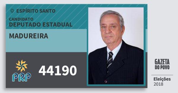 Santinho Madureira 44190 (PRP) Deputado Estadual | Espírito Santo | Eleições 2018