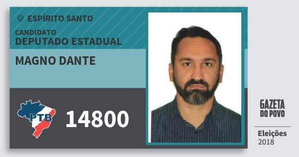 Santinho Magno Dante 14800 (PTB) Deputado Estadual | Espírito Santo | Eleições 2018