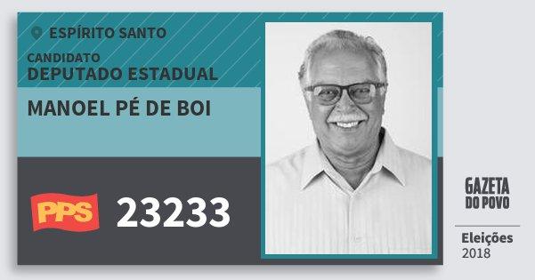 Santinho Manoel Pé de Boi 23233 (PPS) Deputado Estadual | Espírito Santo | Eleições 2018