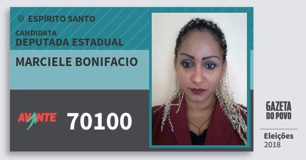 Santinho Marciele Bonifacio 70100 (AVANTE) Deputada Estadual | Espírito Santo | Eleições 2018
