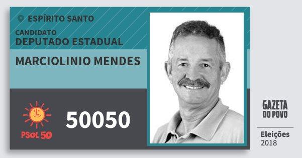 Santinho Marciolinio Mendes 50050 (PSOL) Deputado Estadual | Espírito Santo | Eleições 2018