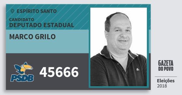 Santinho Marco Grilo 45666 (PSDB) Deputado Estadual | Espírito Santo | Eleições 2018