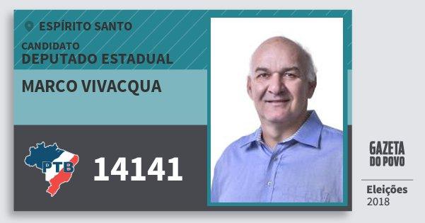 Santinho Marco Vivacqua 14141 (PTB) Deputado Estadual | Espírito Santo | Eleições 2018
