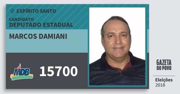 Santinho Marcos Damiani 15700 (MDB) Deputado Estadual | Espírito Santo | Eleições 2018