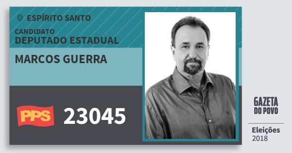 Santinho Marcos Guerra 23045 (PPS) Deputado Estadual | Espírito Santo | Eleições 2018