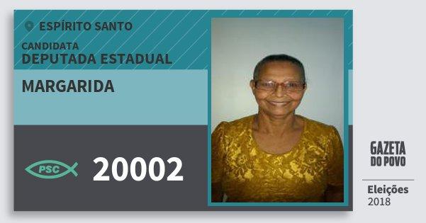Santinho Margarida 20002 (PSC) Deputada Estadual | Espírito Santo | Eleições 2018