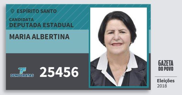 Santinho Maria Albertina 25456 (DEM) Deputada Estadual | Espírito Santo | Eleições 2018