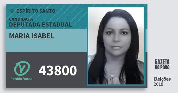 Santinho Maria Isabel 43800 (PV) Deputada Estadual | Espírito Santo | Eleições 2018