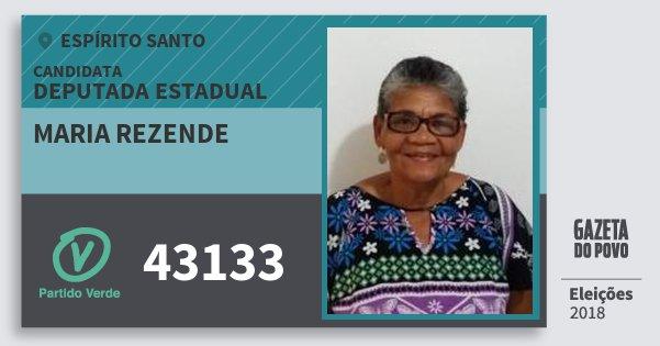 Santinho Maria Rezende 43133 (PV) Deputada Estadual | Espírito Santo | Eleições 2018