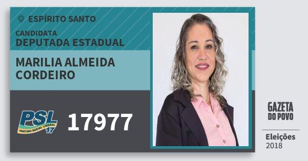 Santinho Marilia Almeida Cordeiro 17977 (PSL) Deputada Estadual | Espírito Santo | Eleições 2018