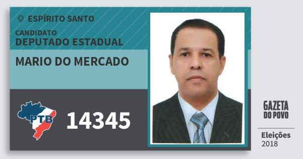 Santinho Mario do Mercado 14345 (PTB) Deputado Estadual | Espírito Santo | Eleições 2018