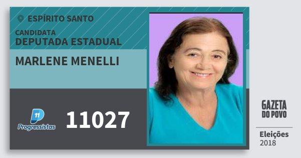 Santinho Marlene Menelli 11027 (PP) Deputada Estadual | Espírito Santo | Eleições 2018