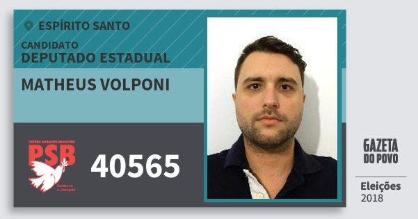 Santinho Matheus Volponi 40565 (PSB) Deputado Estadual | Espírito Santo | Eleições 2018