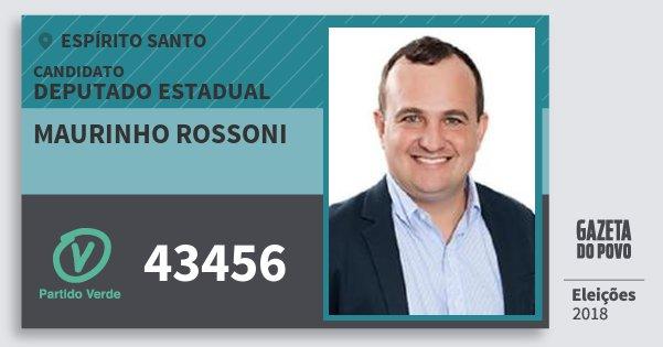Santinho Maurinho Rossoni 43456 (PV) Deputado Estadual | Espírito Santo | Eleições 2018